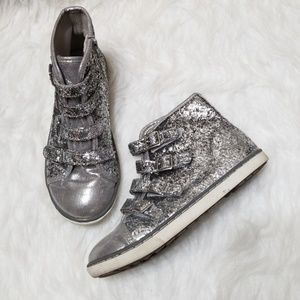 Justice silver glitter high top sneakers